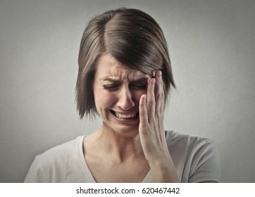 Desperate woman crying
