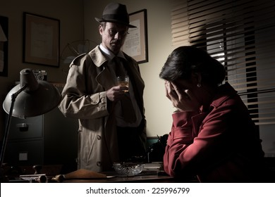 Desperate woman crying head in hands and confident detective standing in his office.