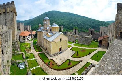 DESPOTOVAC, SERBIA - MAY 26:Medieval Serbian Otrhodox Monastery Manasija, on May 26. 2017. in Despotovac, Serbia
