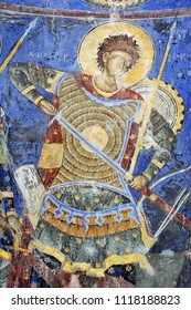 DESPOTOVAC, SERBIA - SEPTEMBER 13:Fresco painting of Holly Warrior in medieval Serbian Otrhodox Monastery Manasija, on September 13. 2017. in Despotovac, Serbia