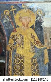 DESPOTOVAC, SERBIA - SEPTEMBER 13:Fresco painting of Stefan Lazarevic, founder of  medieval Serbian Otrhodox Monastery Manasija, on September 13. 2017. in Despotovac, Serbia