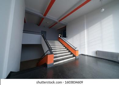 DESSAU, GERMANY - 11 13 2019: The Bauhaus art school iconic building designed by architect Walter Gropius
