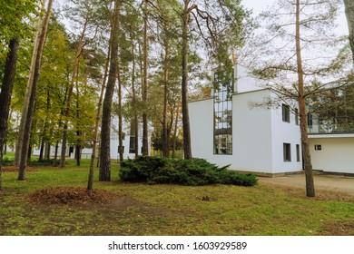 DESSAU, GERMANY - 11 13 2019: Bauhaus masters houses designed in for Walter Gropius, Laszlo Moholy Nagy, Lyonel Feininger, Georg Muche, Oskar Schlemmer, Wassily Kandinsky and Paul Klee