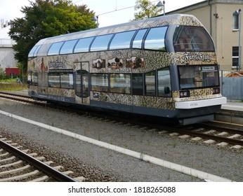 """Dessau - Germany - August 25, 2014: Motor coach """"Fürst Franz"""" parked in Dessau."""