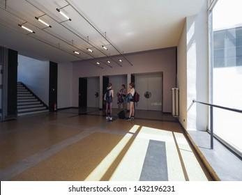 DESSAU, GERMANY - CIRCA JUNE 2019: The Bauhaus art school iconic building designed by architect Walter Gropius in 1925
