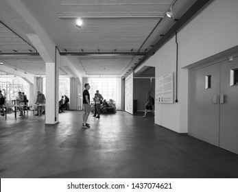 DESSAU, GERMANY - CIRCA JUNE 2019: The Bauhaus art school iconic building designed by architect Walter Gropius in 1925 in black and white