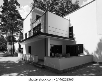 DESSAU, GERMANY - CIRCA JUNE 2019: Bauhaus masters houses in black and white