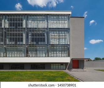 DESSAU, GERMANY - CIRCA JUNE 2019: The Bauhaus art school iconic building designed by architect Walter Gropius in 1925