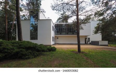 DESSAU, GERMANY - CIRCA JUNE 2019: Bauhaus masters houses designed in 1925 for Walter Gropius, Laszlo Moholy Nagy, Lyonel Feininger, Georg Muche, Oskar Schlemmer, Wassily Kandinsky and Paul Klee