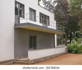 DESSAU, GERMANY - JUNE 13, 2014: Bauhaus masters houses designed in 1925 for Walter Gropius, Laszlo Moholy Nagy, Lyonel Feininger, Georg Muche, Oskar Schlemmer, Wassily Kandinsky and Paul Klee