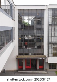 DESSAU, GERMANY - JUNE 13, 2014: The Bauhaus art school iconic building designed by architect Walter Gropius in 1925 is a listed masterpiece of modern architecture