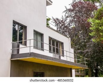 DESSAU, GERMANY - JUNE 13, 2014: Bauhaus masters houses designed in 1925 for Walter Gropius, Laszlo Moholy Nagy, Lyonel Feininger, Georg Muche, Oskar Schlemmer, Wassily Kandinsky and Paul Klee (HDR)