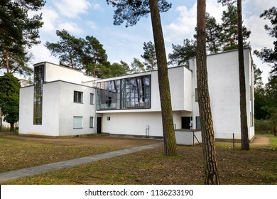 DESSAU, GERMANY - MARCH 30, 2018: The Bauhaus master house building designed by architect Walter Gropius in 1925 is a listed masterpiece of modern architecture