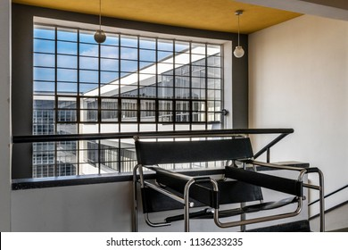 DESSAU, GERMANY - MARCH 30, 2018: The Bauhaus art school iconic building designed by architect Walter Gropius in 1925 is a listed masterpiece of modern architecture