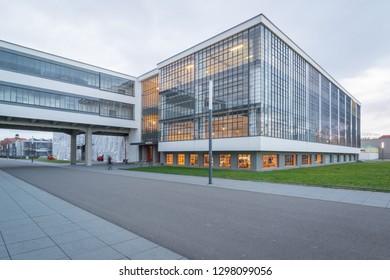 Dessau, Sachsen-Anhalt/Germany - 01-22-19: Bauhaus building in Dessau on a cloudy afternoon