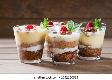 Dessert with berries, jelly, cream, nuts and mint leaf