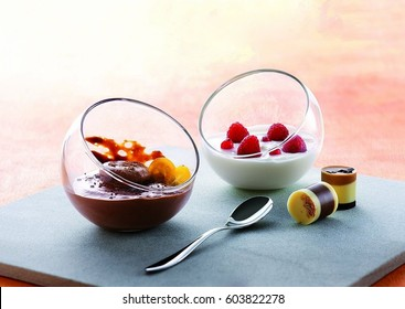 dessert  bowl, chocolate