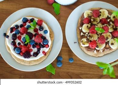 Dessert or breakfast pizzas