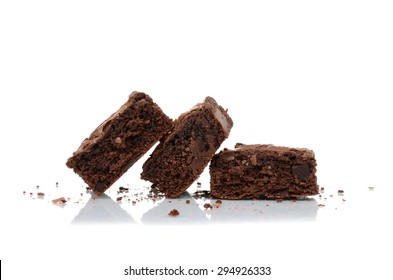 dessert brownies isolated on white background
