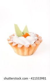 Dessert cake on white background