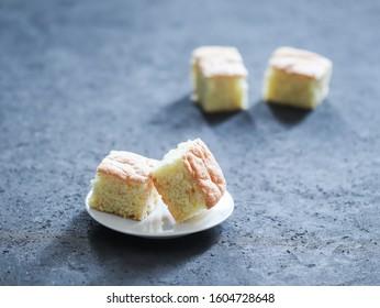 Dessert cake, semolina sponge cake, cut into small pieces