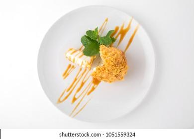 Dessert fried ice cream. Restaurant menu on a white background.