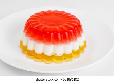 Dessert jelly layered color. Studio Photo