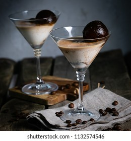 Dessert with liqueur, coffee ice cubes and ice cream