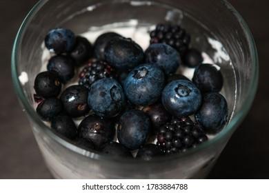 A Dessert Made of Mascarpone, Blueberries and Blackberries