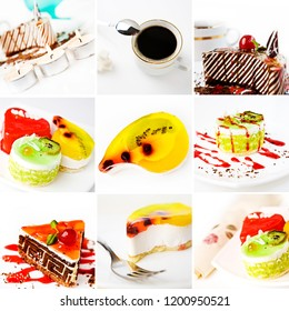 Dessert menu set. A creamy cakes decorated with berries, chocolate chips, honey and syrup