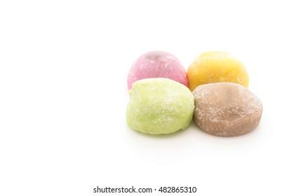 dessert mochi on white background