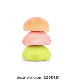 dessert mochi on white background