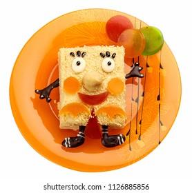 "Dessert ""Napoleon"". Funny cartoon character. Meals for children."