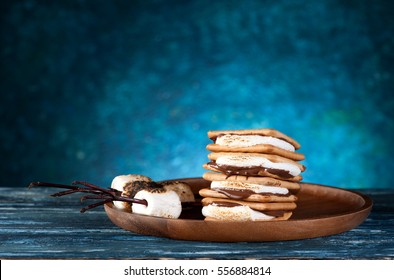 Dessert smores with marshmallows,  crackers and chocolate