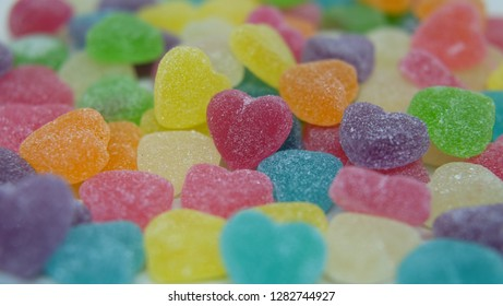 Dessert sweet for child, Sugary candy heart shape background