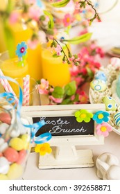 Dessert table decorated for Easter brunch. - Shutterstock ID 392658871