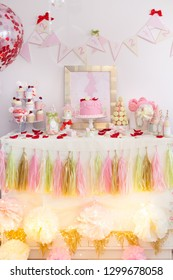 Dessert table for a party. Candy bar.