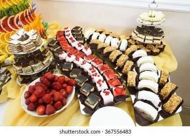 Dessert table at restaurant