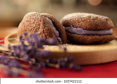 Dessert of whoopee pie cookie with lavender filling