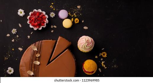 desserts, panacotta and cake
