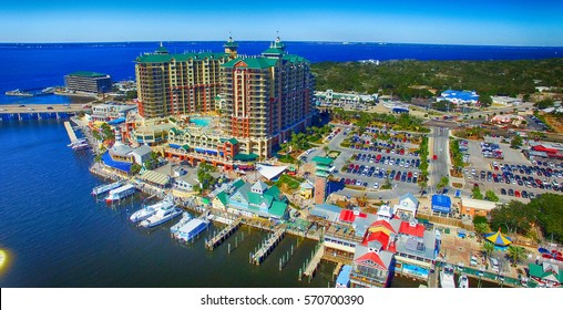 Destin, Florida. Aerial view of beautiful city skyline.