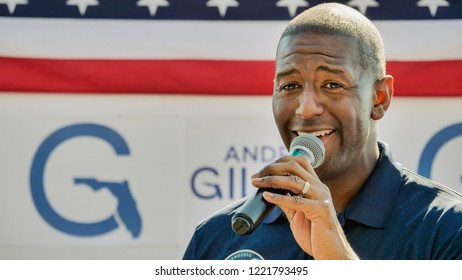 Destin, Florida - October, 31 2018 at 1:58 PM : The man holding a microphone, He is a candidate for Florida's governor 2018, he is Mayor Andrew Gillum.