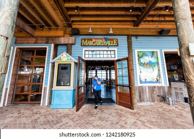 Destin, USA - April 24, 2018: Entrance to Margaritaville restaurant, bar during day in Florida panhandle gulf of mexico