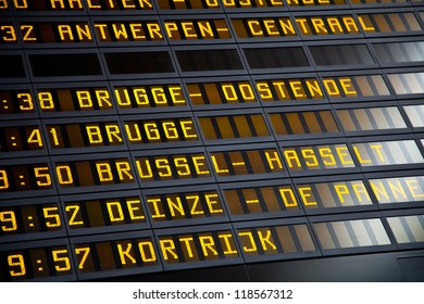 Destination information in a Belgian train station. Europe