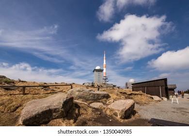 Destination mount Brocken in fine weather, with blue sky