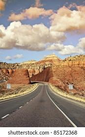 Destination Utah. Utah\'s Highway I-70. Vertical Photo.
