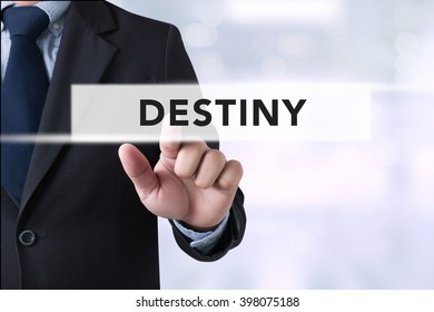DESTINY CONCEPT Businessman hands touching on virtual screen and blurred city background