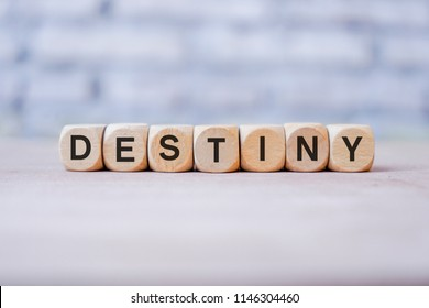 Destiny word written on wood block