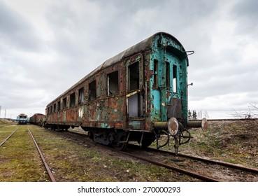 The destroyed, abandoned railway wagon