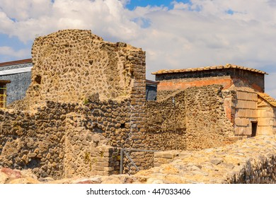 Destroyed architecture of Pompeii, an ancient Roman town destroyed by the volcano Vesuvius. UNESCO World Heritage site